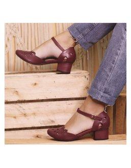 Sapato Boneca Salto Baixo Vinho- 600-28 - Universo Bubblē