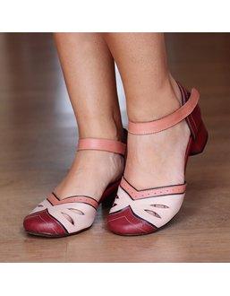 Sapato Boneca Salto Grosso Vinho e Nude - Universo Bubblē