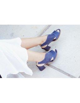 Sandalia Salto Grosso Confortável Azul - Universo Bubblē