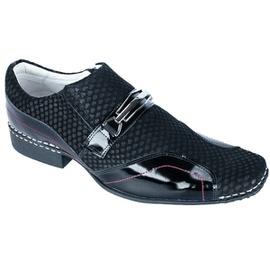 Sapato Social Masculino - ED80005 Verniz preto/Nobuck - CALÇADOS ALCALAY