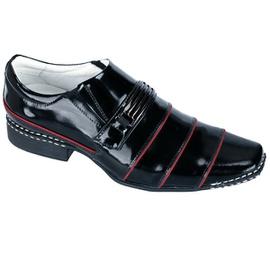 Sapato Social Masculino - ED80004 Verniz Preto/Vermelho - CALÇADOS ALCALAY