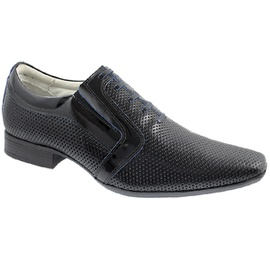 Sapato Social Masculino - F160439 Verniz Preto/azul - CALÇADOS ALCALAY