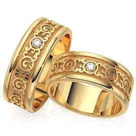 Aliança de Casamento em Ouro 18k Trabalhada com Di... - Helder Joalheiros