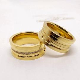 Aliança em Ouro 18k 750 Reto Concavo com Diamantes - Helder Joalheiros