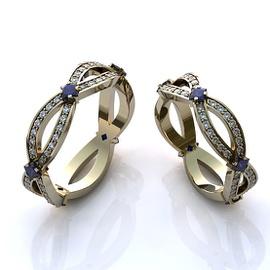 Aliança de Casamento com Diamantes e Safira - Helder Joalheiros