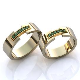 Aliança de Casamento com Esmeraldas - Helder Joalheiros