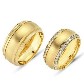Aliança de Casamento com Diamantes 8 MM - Helder Joalheiros