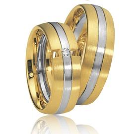 Aliança de Casamento em Ouro Amarelo e Branco com ... - Helder Joalheiros
