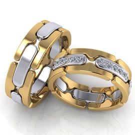 Aliança Bodas e Casamento - Ouro 18k - Brilhantes - Helder Joalheiros
