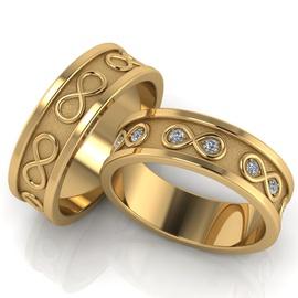 Aliança de Casamento Infinito com Diamantes - Helder Joalheiros