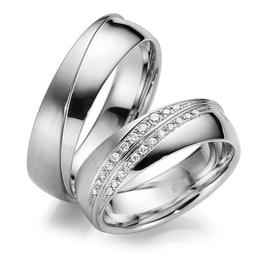 Aliança De Casamento em Ouro Branco 18k com Diaman... - Helder Joalheiros