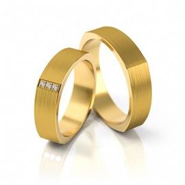 Aliança de Casamento Quadrada com Brilhantes - Helder Joalheiros