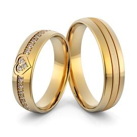 Aliança em Ouro 18k de Casamento Coração com Diama... - Helder Joalheiros