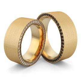 Aliança em Ouro 18k com Diamante e Diamante Black - Helder Joalheiros