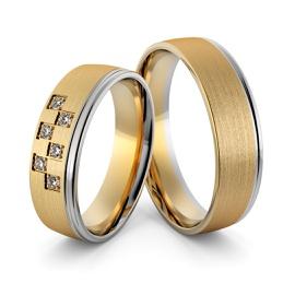 Aliança em Ouro 18k Amarelo e Branco com Diamantes - Helder Joalheiros