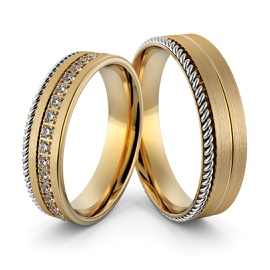 Aliança em Ouro 18k Trabalhada com Diamantes - Helder Joalheiros