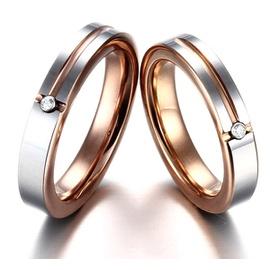 Aliança em Ouro Branco e Rosê com Diamantes - Helder Joalheiros