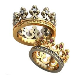 Alianças em Ouro 18k Coroa Cravejada com Diamante... - Helder Joalheiros
