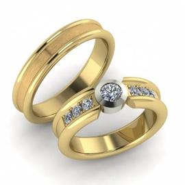 Aliança de Casamento Glamour com Diamante 30 Ponto... - Helder Joalheiros