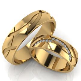 Aliança em Ouro 18k Cravejada com Brilhantes - Helder Joalheiros