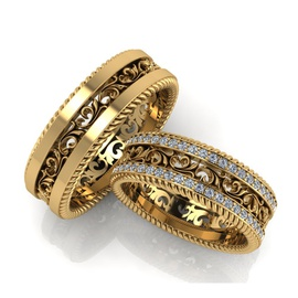 Aliança de Casamento Glamour com Diamantes - Helder Joalheiros