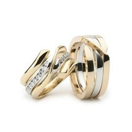 Aliança Bodas de Prata - Diamantes - Ouro 18k - Helder Joalheiros