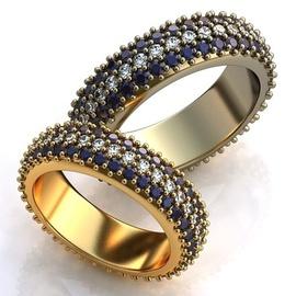 Aliança de Casamento com Safiras e Diamantes - Helder Joalheiros