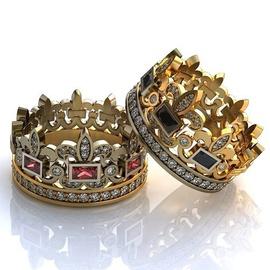 Aliança de Casamento Coroa Princess Com Diamantes,... - Helder Joalheiros