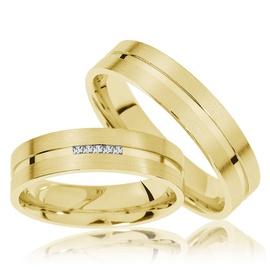 Aliança de Ouro - Casamento com Brilhantes Princes... - Helder Joalheiros