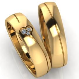 Aliança Trabalhada Coração com Diamantes - Helder Joalheiros