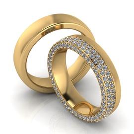 Aliança de Casamento com Diamantes / Referente a 5... - Helder Joalheiros