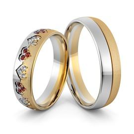 Aliança em Ouro 18k Corações com Diamantes e Rubis... - Helder Joalheiros