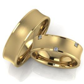 Aliança de Casamento Concava com Brilhantes - Helder Joalheiros