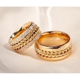 Aliança em Ouro 18k Trança com Diamantes - Helder Joalheiros