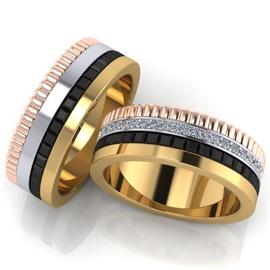 Aliança de Casamento - Ouro 18k com Brilhantes e O... - Helder Joalheiros