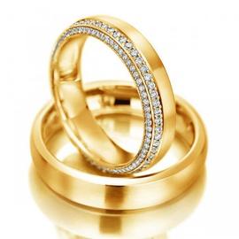 Aliança Cravejada com Diamantes em Ouro 18k - Helder Joalheiros