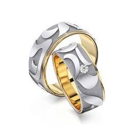Aliança em Ouro 18k Bodas com Diamante - Helder Joalheiros