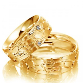 Aliança Casamento e Bodas - Ouro 18k com Brilhante... - Helder Joalheiros