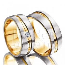 Aliança de Bodas Com Diamante - Ouro 18k - Helder Joalheiros