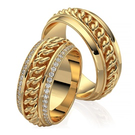 Aliança em Ouro 18k Corrente com Diamantes - Helder Joalheiros