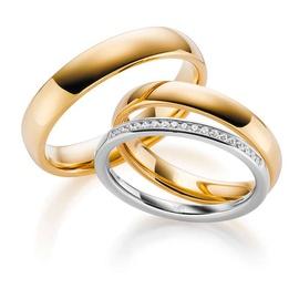 Aliança de Casamento com Meia Aliança de Diamantes... - Helder Joalheiros
