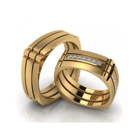 Aliança de Casamento Quadrada com Diamantes - Helder Joalheiros