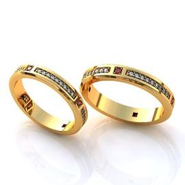 Aliança de Casamento em Ouro 18k com Diamantes e R... - Helder Joalheiros
