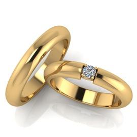Aliança de Casamento Solitário com Diamante de 18 ... - Helder Joalheiros