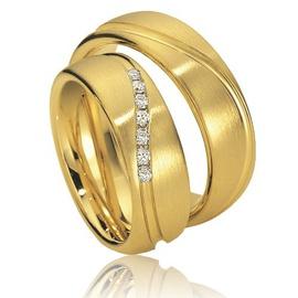 Aliança De Casamento em Ouro Amarelo 18k com Diama... - Helder Joalheiros