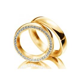 Aliança de Casamento e Noivado em Ouro 18k com Dia... - Helder Joalheiros