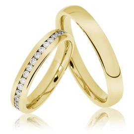 Aliança de Ouro Cravejado com Brilhantes - Helder Joalheiros