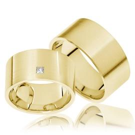 Aliança de Casamento 8 mm com Diamantes Princess - Helder Joalheiros