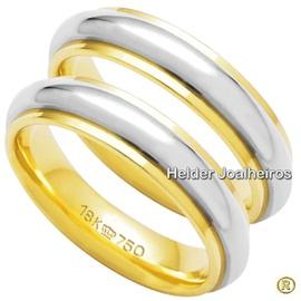 Aliança Bodas de Prata - Ouro 18k - Ouro Amarelo e... - Helder Joalheiros