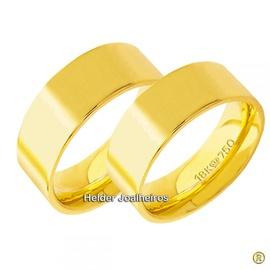 Aliança Reta 7,5 Milímetros de Ouro 18k Casamento ... - Helder Joalheiros